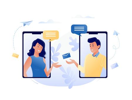 Konzeptvektorillustration des Chattens über das Internet mit Handy, soziale Netzwerke, Kommunikation, Nachrichten, Nachrichten, Freunde suchen. Für Webbanner, Website, Flyer, Karte.