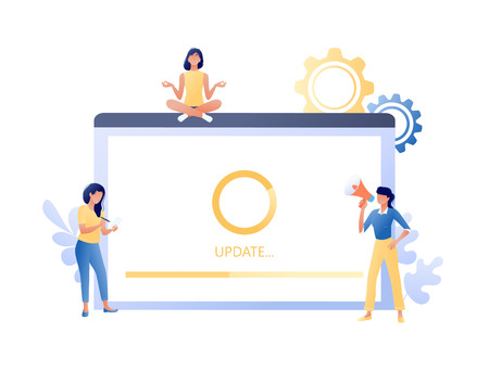System update, software upgrade process - little people and big screen with message. Modern technology and new app version download, installation in progres. Flat concept vector illustration for web, landing page, banner, presentation, flyer. 向量圖像