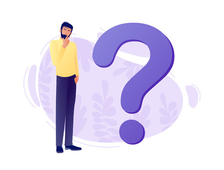 Question mark with young thinking business man. Q and A. FAQ. Frequently asked questions. Flat concept vector illustration for web, landing page, banner, presentation, flyer, poster. Isolated on white