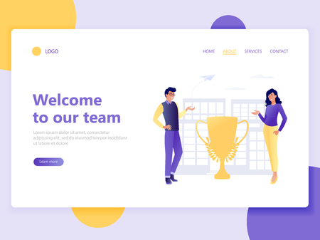 Landing web page template of Join our team. Man and woman invite to the team. About us, welcome to organization. Flat concept vector illustration for web page, website and mobile website, ui, ux