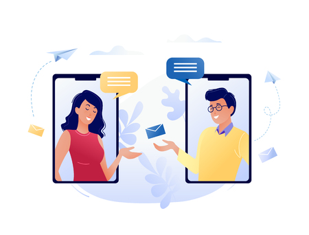 Concept vector illustration of chatting via the Internet using mobile phone, social networking, communication, news, messages, search friends. For web banner, website, flyer, card