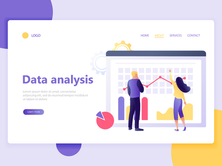 Landing web page template of data analysis - people analyse big data. Teamwork, coworking, workflow process. Flat concept vector illustration for web page, website and mobile website, ui, ux