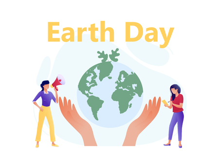 Hands hold planet with little people - save the planet, Earth Day, save energy concept. Flat concept vector illustration for web, landing page, banner, presentation, flyer, poster