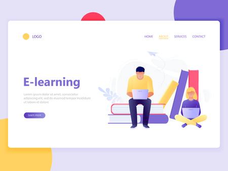 Landing web page template of online education. Man and woman sitting near books with laptops. E-learning, online teaching, courses. Flat concept vector illustration for web page, website and mobile Illusztráció