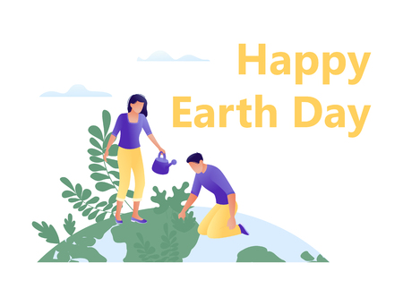 Little people plant trees together on the big planet - save the planet, Happy Earth Day, save energy, ecology, world environment day concept. Flat concept vector illustration for web, landing page, banner, presentation, flyer, poster