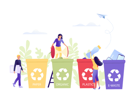 Recycling garbage - small little people throw garbage in containers. Separation of garbage containers. Plastic, paper, organic. e-waste. Environmental protection, ecology, earth day. Flat concept vector illustration