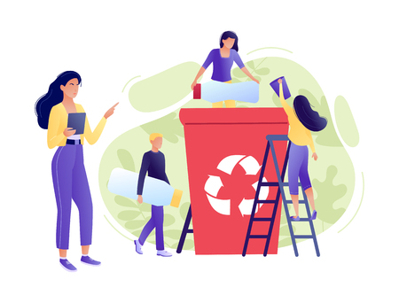 Recycling garbage - small little people throw garbage in containers. The employee is engaged in recycling garbage, business analysis. Environmental protection, ecology, earth day. Flat concept vector illustration