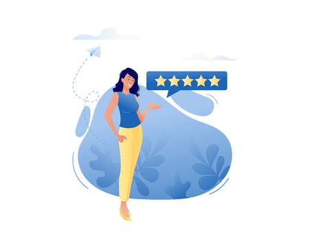 Good review - happy smiling woman leaving five stars for online product or service. Reviews, about us, good work contented consumer concept. Flat vector illustration for web, landing page, banner, presentation, flyer