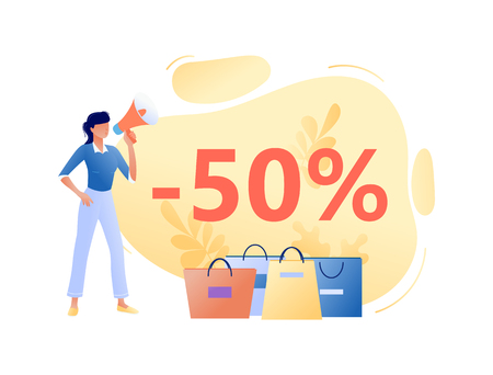 Online Sale - young woman with megaphone and bags. Discount, e-commerce customer concept. Flat vector illustration for web, landing page, banner, presentation, flyer