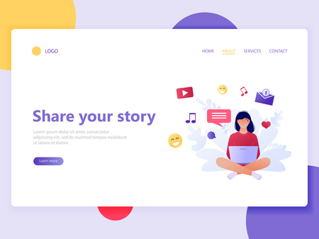 Landing web page template of woman sitting and sharing her moments. Share your story. Social media, networks, chatting via internet, work online. Flat concept vector illustration for web page, website and mobile website, ui, ux