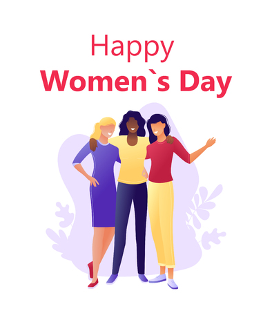 Happy International Women s Day 8 march - Young happy women hugging together. Flat concept vector illustration for web, landing page, banner, presentation, flyer, poster Illusztráció