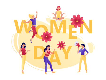 Women s Day 8 march - Little young happy women near big letters. Flat concept vector illustration for web, landing page, banner, presentation, flyer, poster