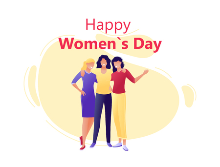 Happy Women s Day 8 march - Young happy women hugging together. Flat concept vector illustration for web, landing page, banner, presentation, flyer, poster