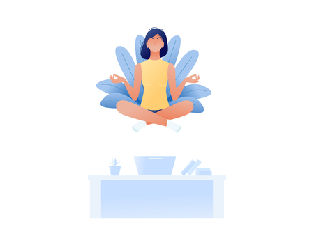 Young woman doing yoga and get calm in office and find new ideas for work. Finding solutions through meditation. Relax, meditation, good time management concept. Flat style design. Vector illustration Vectores