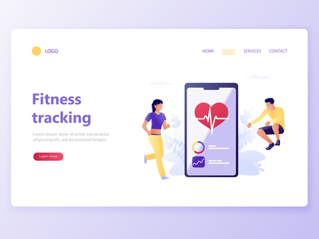 Landing web page template of Fitness tracking - health care mobile app. Young man and woman are running and jumping near smartphone. Sport tracking, heart beating, pulse rate. Flat vector illustration Illusztráció