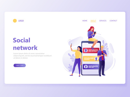 Landing web page template of social network. People sitting and standing near big smartphone. Social media, digital marketing, business strategy, analytics. Flat concept vector illustration Çizim