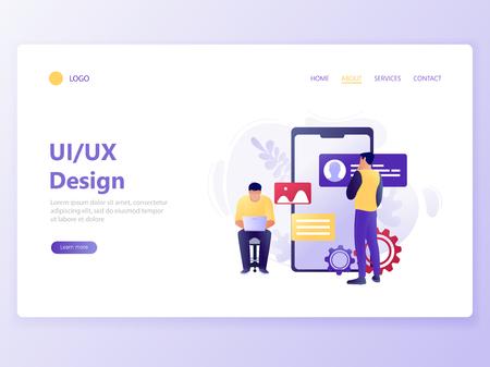 Landing web page template of Mobile App Development. People design mobile app near big smartphone. UI UX design. Modern flat concept vector illustration