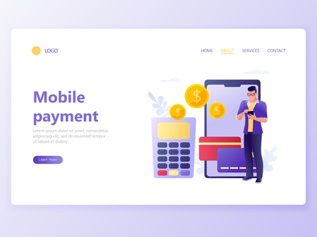 Landing web page template of Contactless payment, terminal and credit card, online banking, mobile payment, POS terminal confirm, NFC payment, money transferring. Flat concept vector illustration Illusztráció