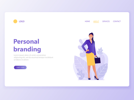 Web page template for personal branding, business communication, consulting, planning. Landing page design. Businesswoman. Web banner, mobile app. Vector illustration