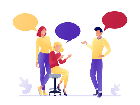 Vector illustration of flat people talking together. Businessmen and women discuss social networks, news. Chat, dialogue speech bubbles. Teamwork, searching for idea. Flat concept vector illustration