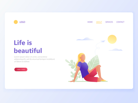 Landing website page template of happiness, psychological health, life satisfaction, wellness, healthy lifestyle, dreams, creativity. Life is beautiful. Flat concept vector illustration.