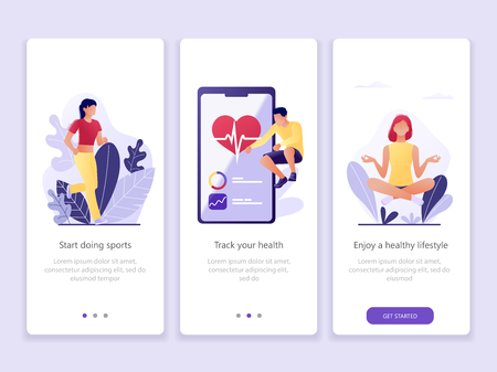 Fitness tracking, sporty, healthy Lifestyle. Onboarding screens user interface kit. Modern user interface UX, UI screen template for mobile smart phone or web site. Vector Illustration Illusztráció