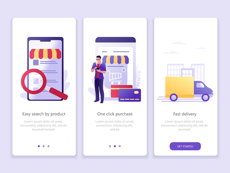 E store marketing, online shopping, delivery. Onboarding screens user interface kit. M commerce. Modern user interface UX, UI screen template for mobile smart phone or web site. Vector Illustration