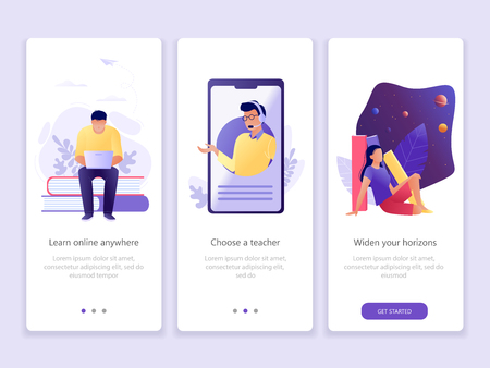 Online education, School, Studying, Courses. Onboarding screens user interface kit. M commerce. Modern user interface UX, UI screen template for mobile smart phone or web site. Vector Illustration.