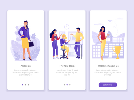Presentation of the company About us, the team, business. Onboarding screens user interface kit. Modern user interface UX, UI screen template for mobile smart phone or web site. Vector Illustration