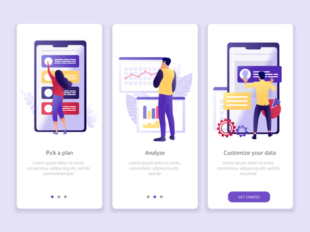Data analysis app. Onboarding screens user interface kit. Business theme. Modern user interface UX, UI screen template for mobile smart phone or web site. Vector Illustration