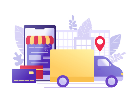 Online Shopping and Delivery with car carrying goods and smartphone with online store. Ecommerce sales, digital marketing. Flat concept vector illustration for web, landing page, shop application