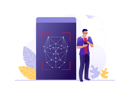 Face identification - smartphone scans a person face. Mobile app for facial recognition. Biometric identification. Flat concept vector illustration for web, landing page, banner