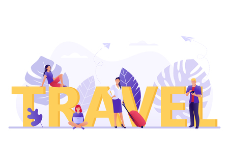 Travelling, booking - small people near big letters Travel. Vacation, recreation, holiday, travel. Tropical island. Flat concept vector illustration for web, landing page, banner