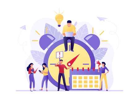 Time management, Deadline with small people around the large watch and calendar. Concept of term and time, planning. Vector flat illustration. Flat concept vector illustration for web, landing page 版權商用圖片 - 123180615