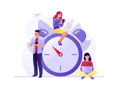 Time management, Deadline with small people around the large watch. Concept of term and time, planning. Vector flat illustration. Flat concept vector illustration for web, landing page