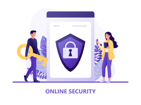 Online security - people protecting computer data. Data protection concept for web page, banner, presentation, social media. Network security, data security, privacy concept. Flat concept vector illustration