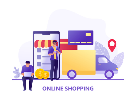 Online Shopping and Delivery with car carrying goods and people using gadgets for shopping. Ecommerce sales, digital marketing. Flat concept vector illustration for web, landing page, shop application