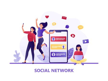 Social media, networks. Women taking selfie together, girl sitting with laptop. Chat, forum. Flat concept vector illustration for web, landing page, banner, flyer
