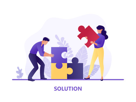 Solution. People fitting together pieces of a jigsaw puzzle. Cooperation and teamwork, solutions and problem solving. Flat concept vector illustration for web page, website and mobile Illusztráció