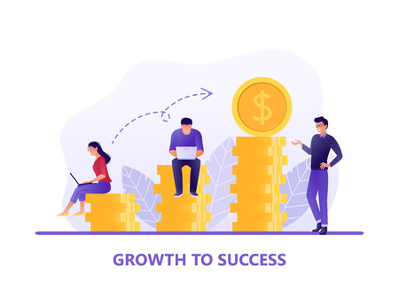 Career growth to success. People sitting and standing near coins. Investment management, business analysis. Flat concept vector illustration for web page, website and mobile.