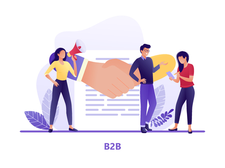 B2B Shaking hands with small people. Business to business. Flat modern concept vector illustration for web, landing page, banner, presentation, flyer, poster