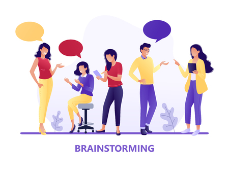 Brainstorming. People talking together. Businessmen and women discuss social networks, news. Chat, dialogue speech bubbles. Teamwork, searching for idea. Flat concept vector illustration
