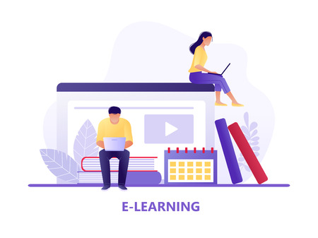 Online education. Man and woman sitting near books with laptops. E-learning, online teaching, courses. Flat concept vector illustration for web page, website and mobile