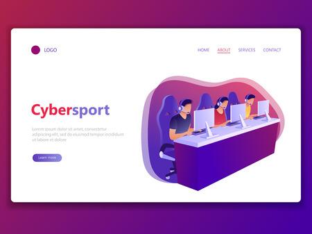 Modèle de page Web de destination de Cybersport. E-sport, compétition, jeux informatiques, gamers. Hommes et femmes jouant au jeu, regardant l'écran et assis sur des chaises. Illustration vectorielle de concept plat.
