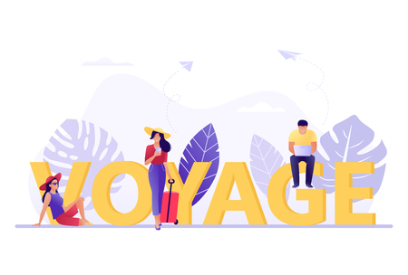 Voyage, Travelling, booking - small people near big letters Voyage. Vacation, recreation, holiday, travel. Tropical island. Flat concept vector illustration for web, landing page, banner