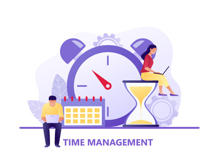 Time management, Deadline with small people around the large watch and calendar. Concept of term and time, planning. Vector flat illustration. Flat concept vector illustration for web, landing page