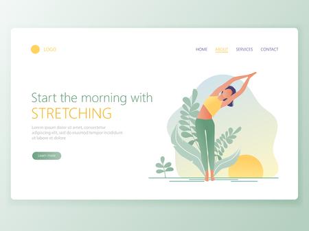 Modello di pagina Web della Scuola di Yoga, Studio. Moderno concetto di design piatto di progettazione di pagine web per sito Web e sito Web mobile. La donna fa esercizio di yoga, posa di yoga. Illustrazione vettoriale