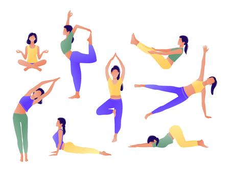 Conjunto de chica de entrenamiento de yoga. Mujeres haciendo ejercicios de yoga. Se puede utilizar para carteles, pancartas, folletos, tarjetas, sitios web. Calentando, estirando. Ilustración de vector. Violeta amarillo verde Ilustración de vector