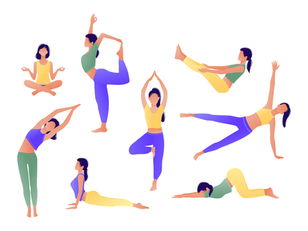 Yoga workout girl set. Women doing yoga exercises. Can be used for poster, banner, flyer, card, website. Warming up, stretching. Vector illustration. Green yellow violet 스톡 콘텐츠 - 117872202