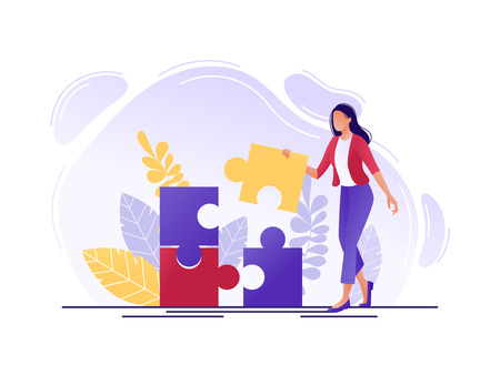 Solution. Woman fitting together pieces of a jigsaw puzzle. Solutions and problem solving. Flat concept vector illustration for web page, website and mobile. Isolated on white Illusztráció